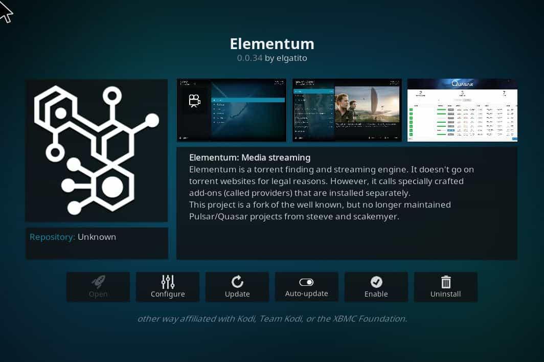 Yify Elementum Kodi addon