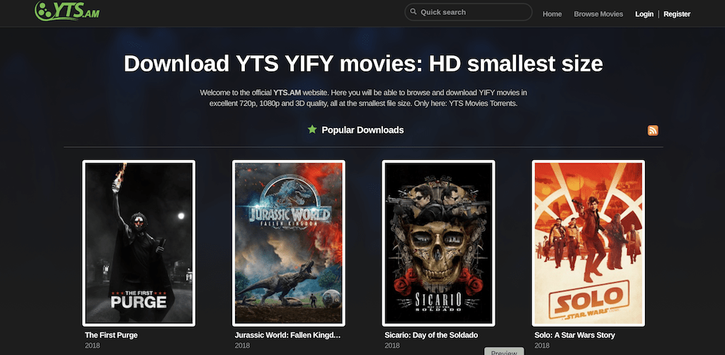 Yify Torrents homepage