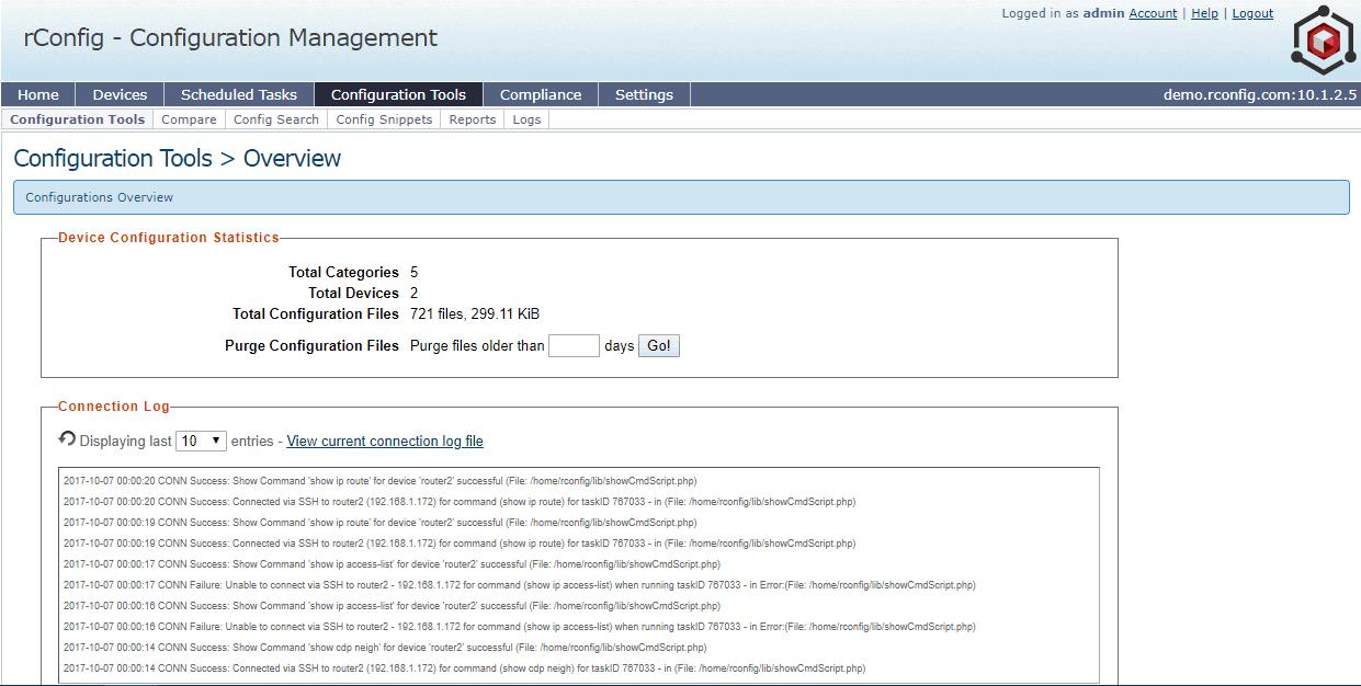 rConfig – Configuration Management Screenshot