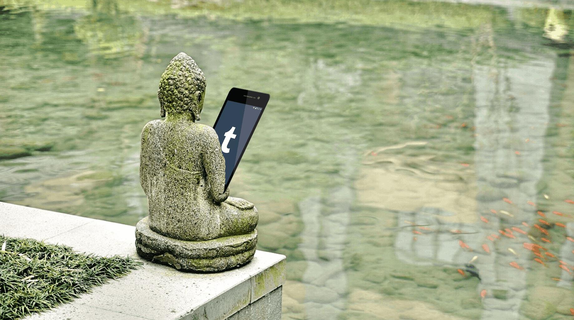Unblock Tumblr China – 1 – Buddha on his phone