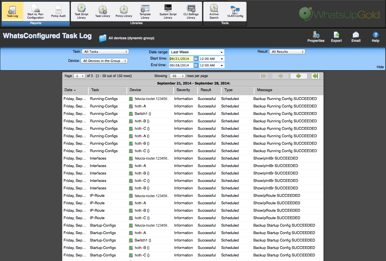 WhatsUp Gold Configuration Manager-Task Log