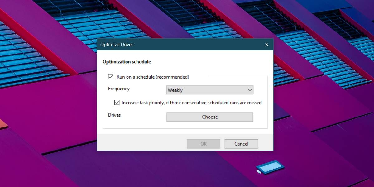change optimization schedule win 10