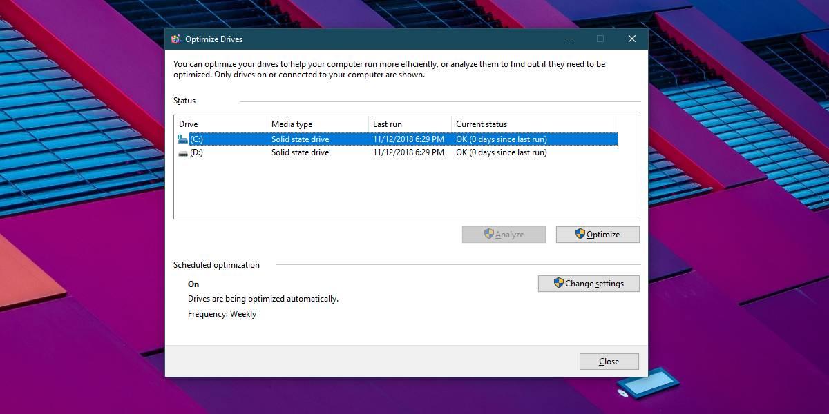 optimize SSD win 10