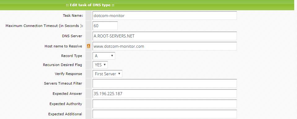 Dotcom-Monitor DNS Monitoring
