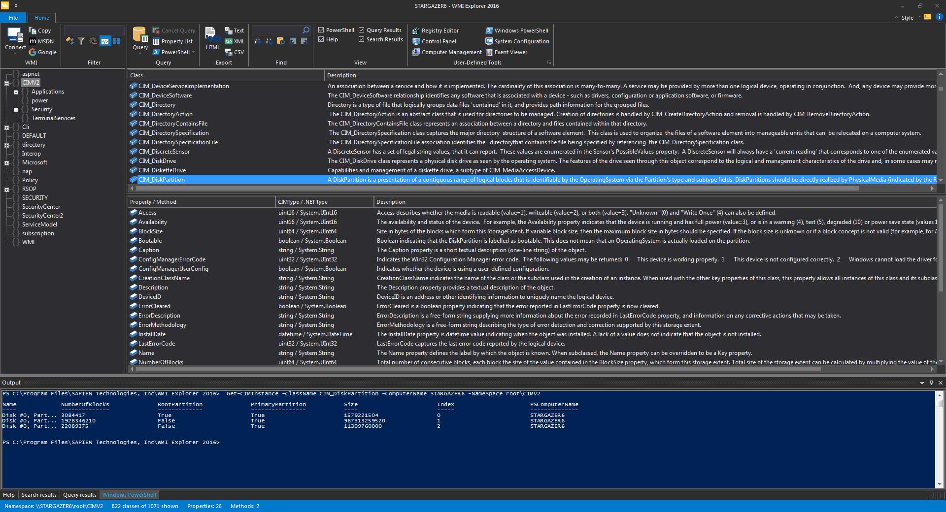 Sapien WMI Explorer Screenshot