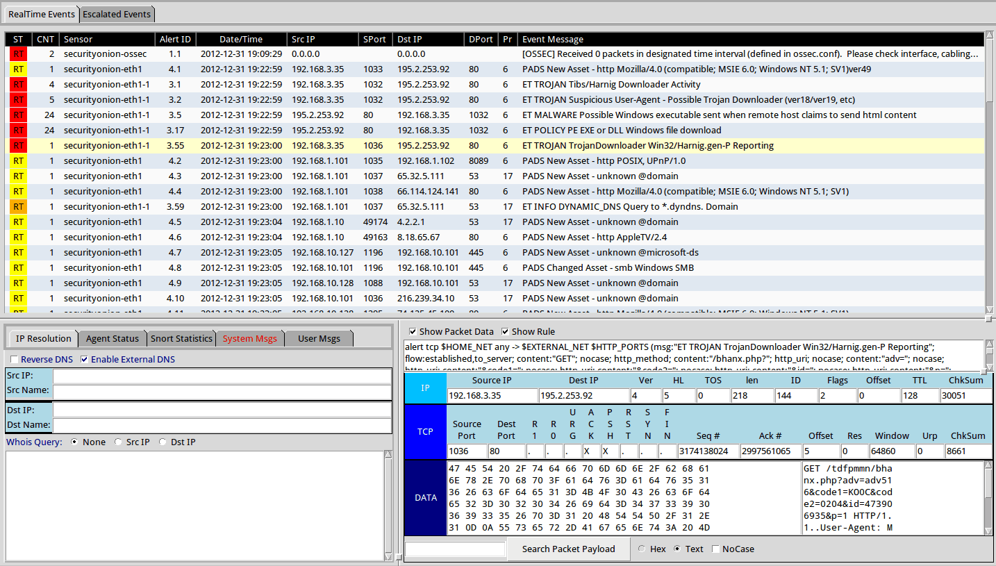 Security Onion - Events tab