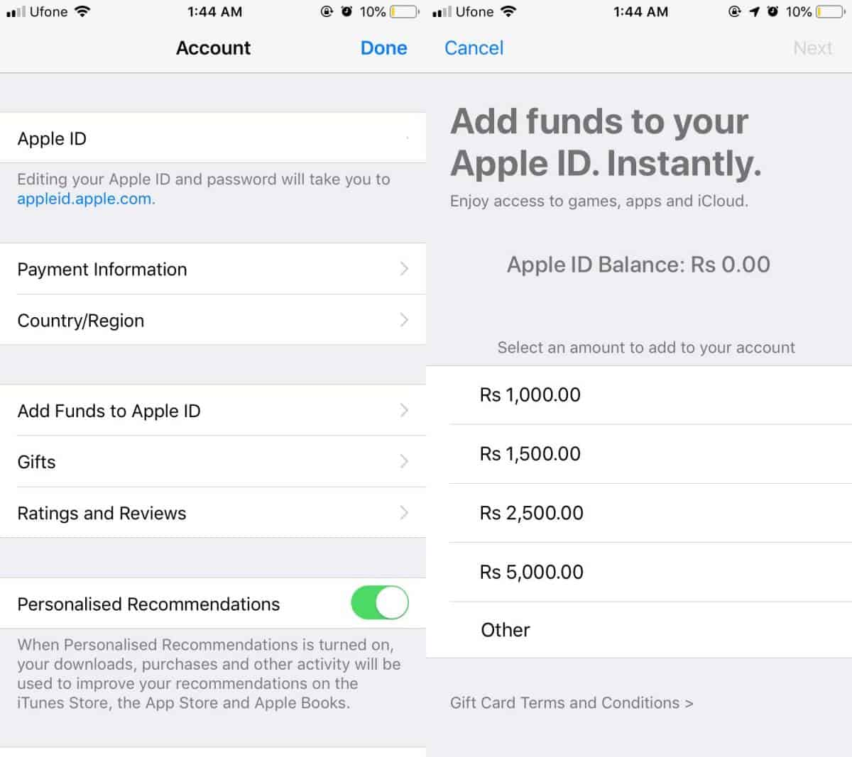 apple id funds 2