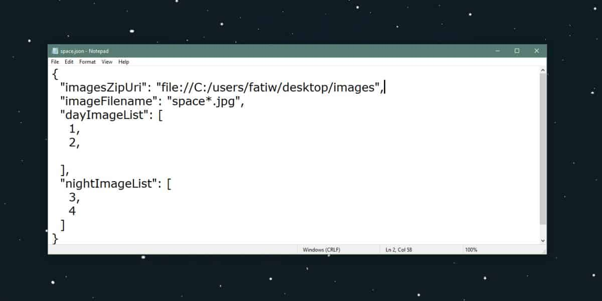 dynamic wallpaper JSON file