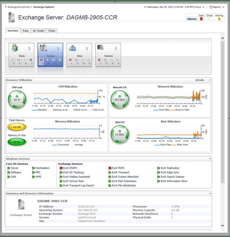 Foglight for Exchange Screenshot