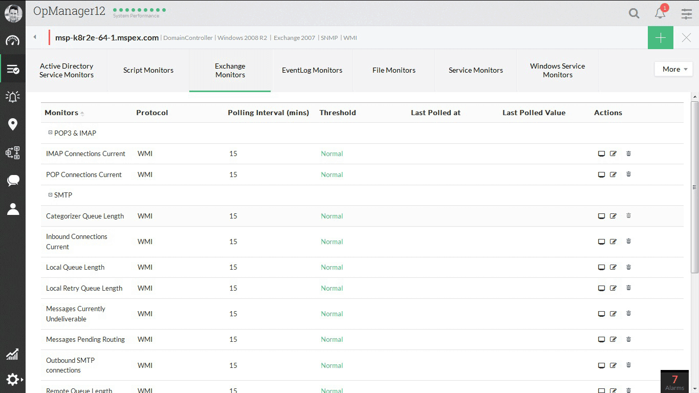 ManageEngine OpManager Exchange Monitoring