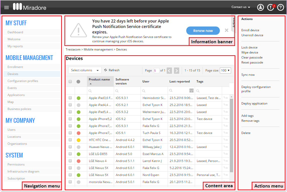 Miradore Online Screenshot