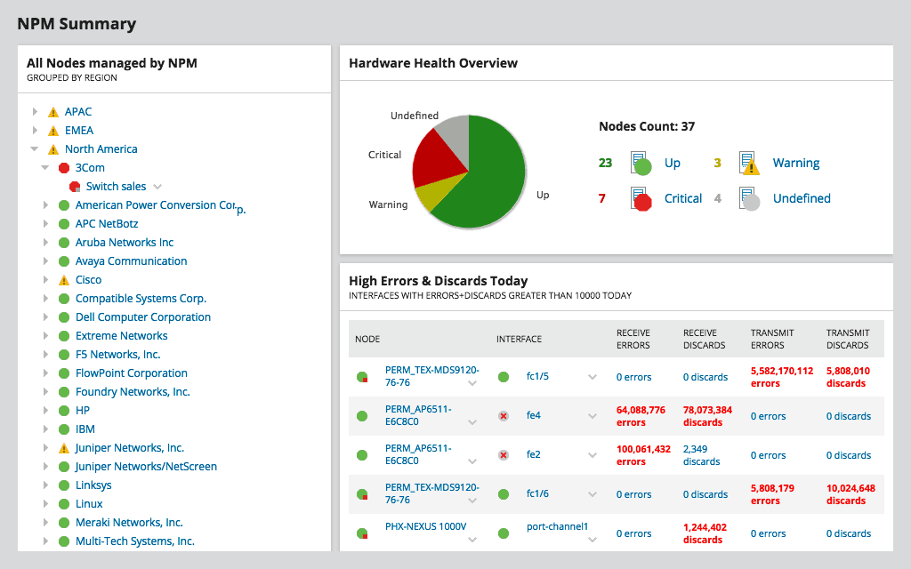 SolarWinds NPM - Network Summary