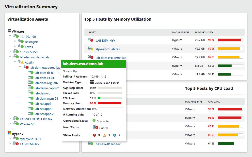 SolarWinds SAM - Virtualization Summary