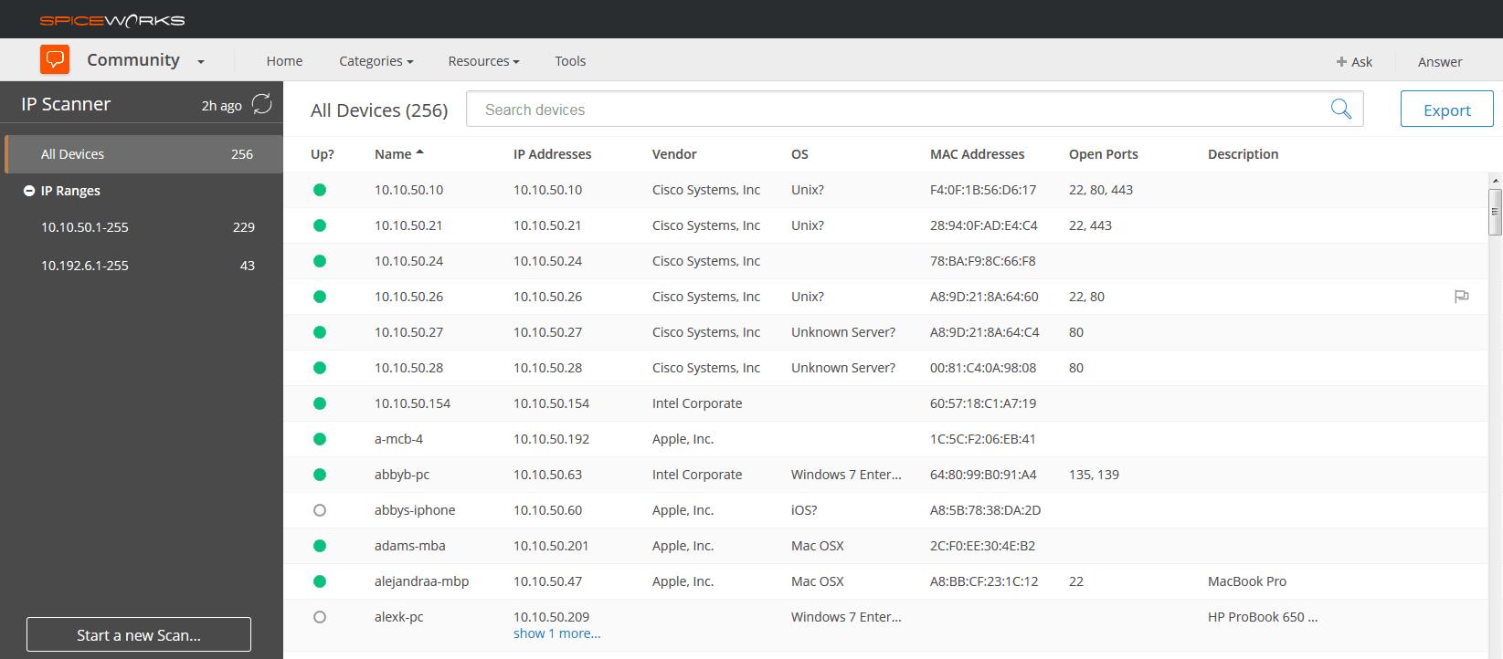 Spiceworks IP Scanner Screenshot