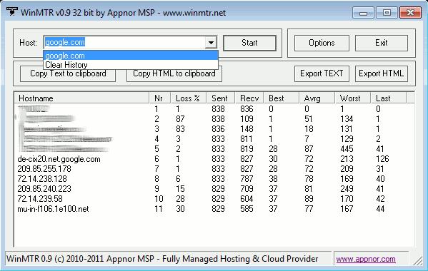 WinMTR main window