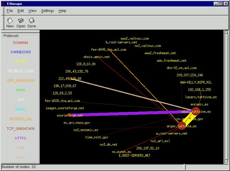 EtherApe Screenshot