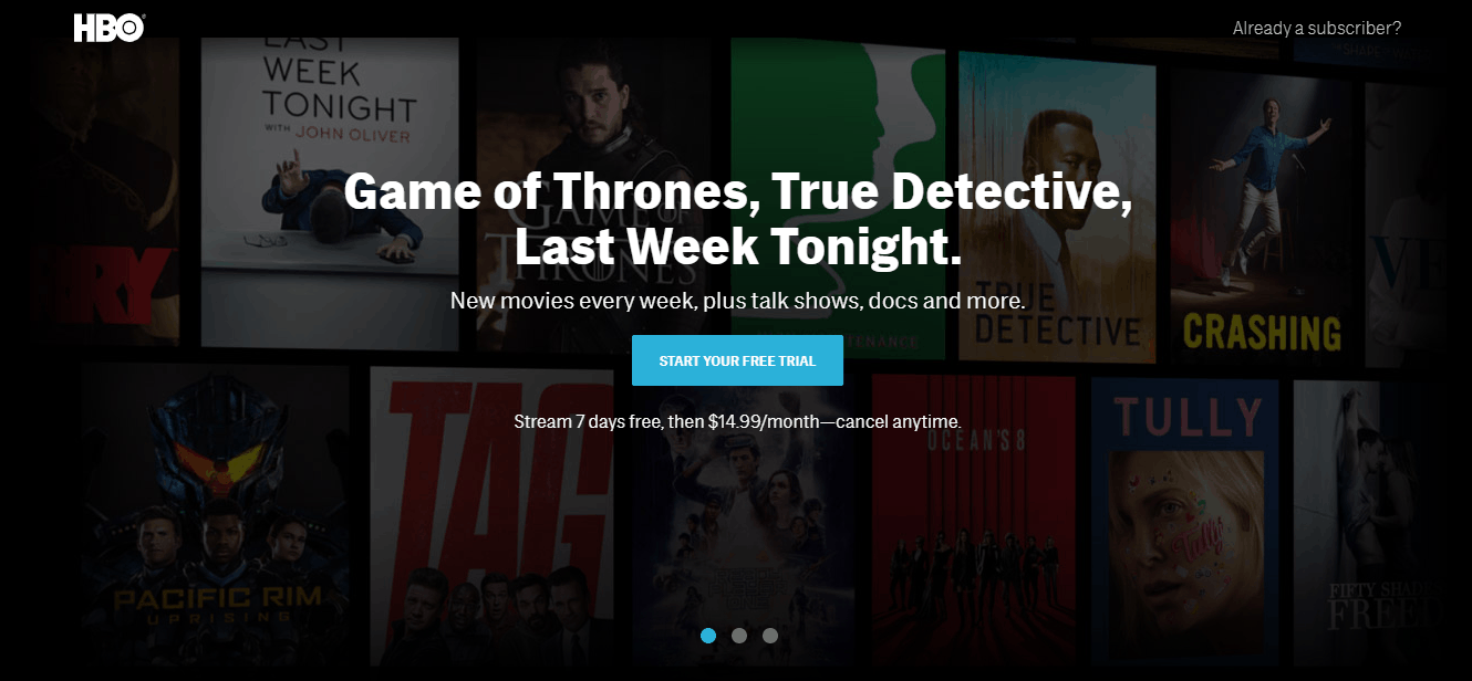HBO Now Home Page
