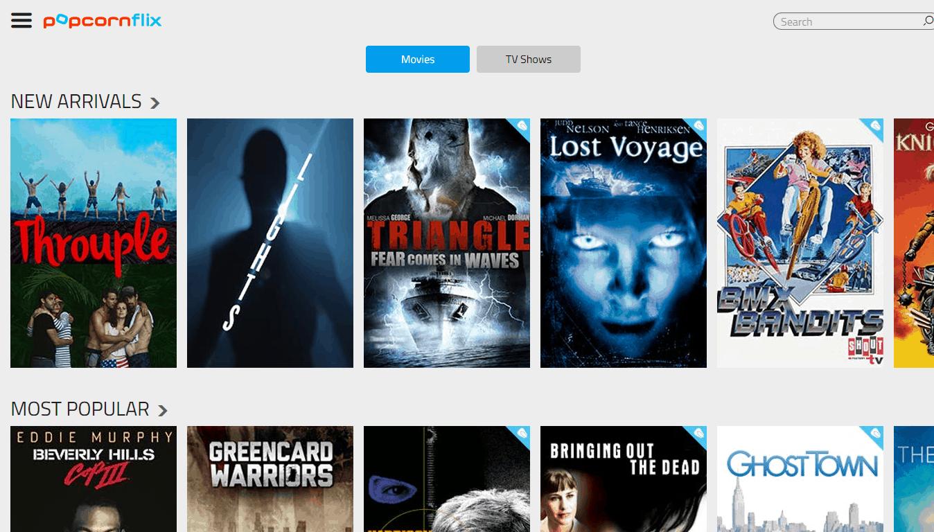 Popcornflix Home Page
