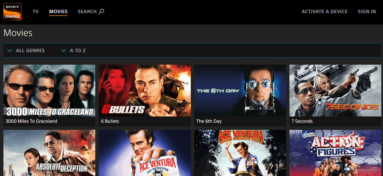 Sony Crackle Movies Page