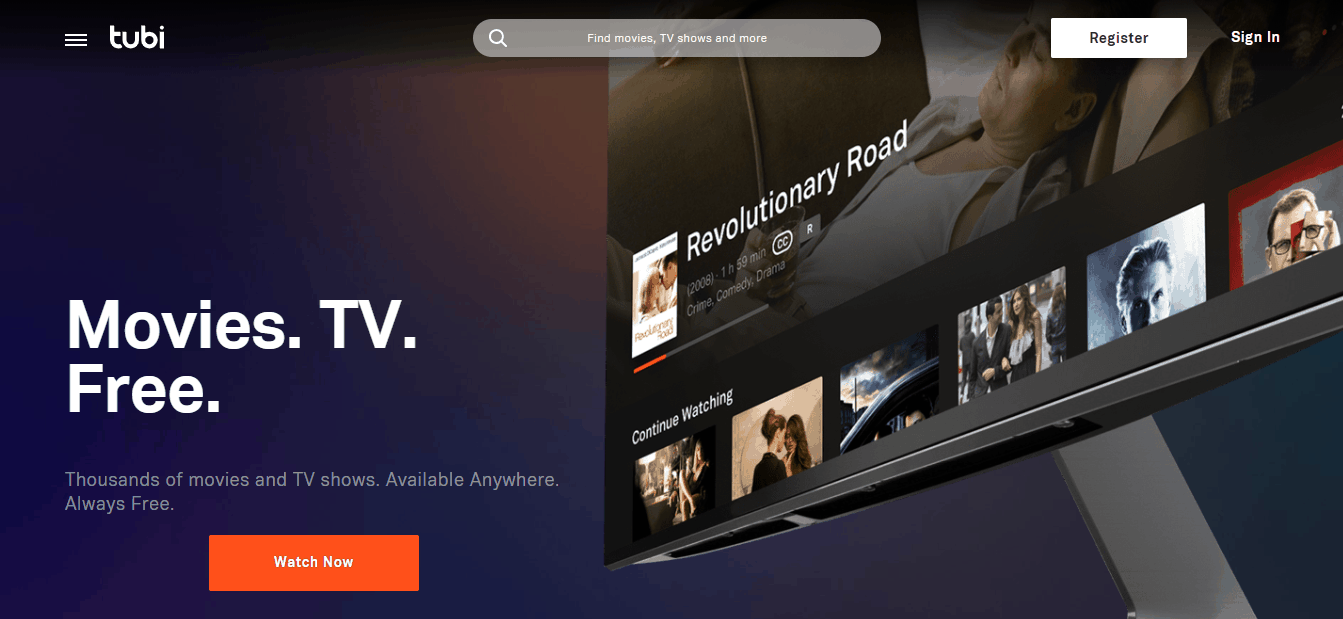 Tubi Home Page