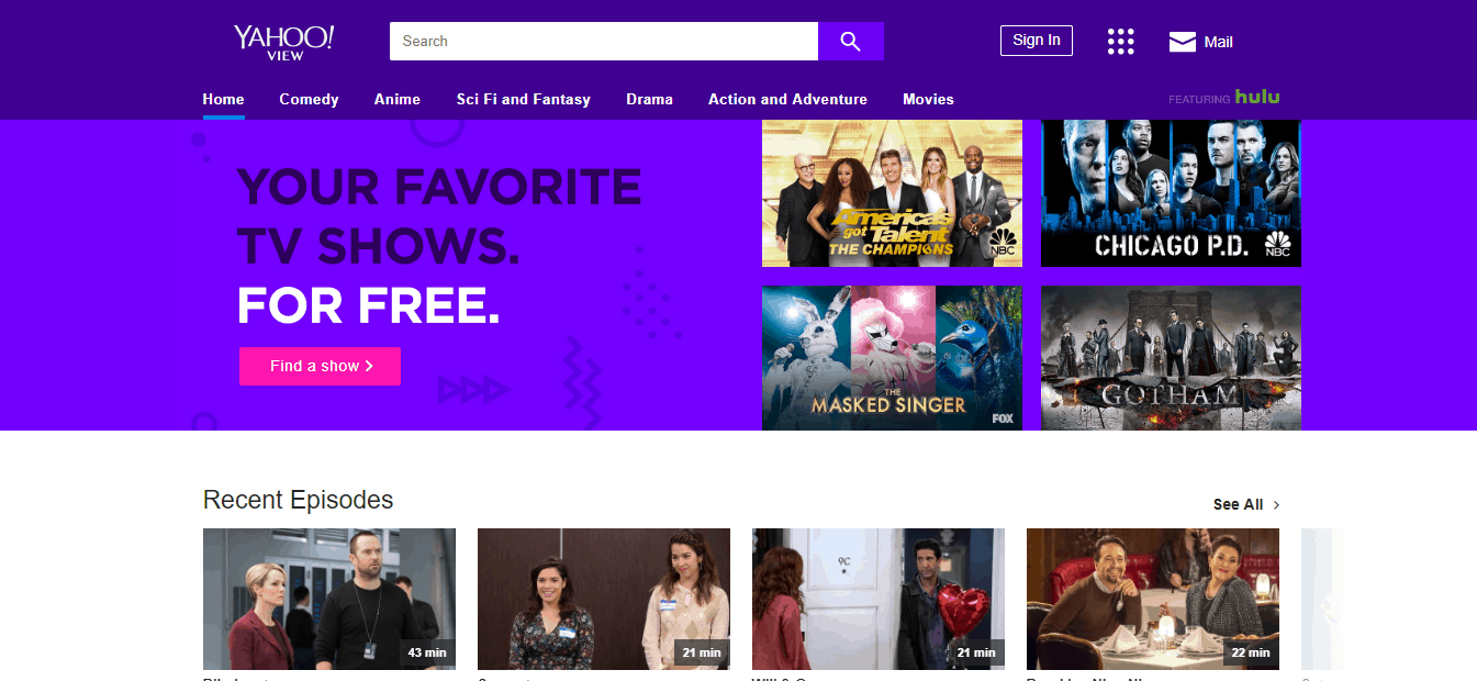 Yahoo View Home Page