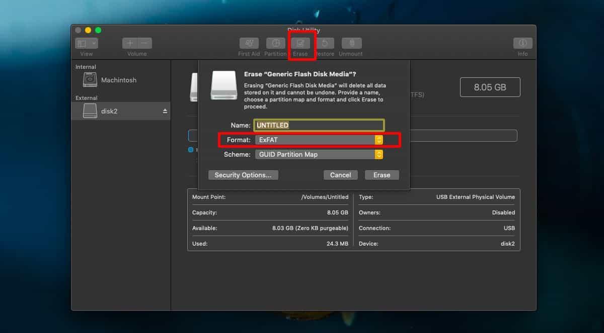 erase format drie macOS
