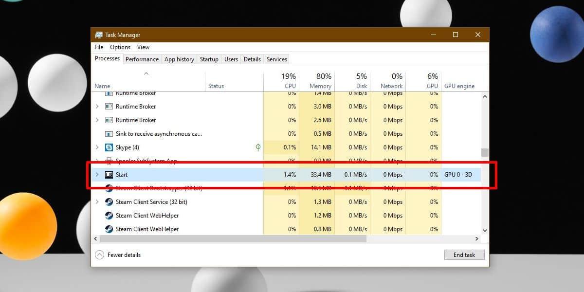 start menu task manager