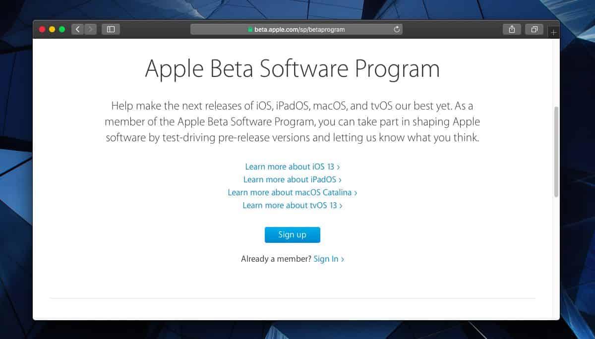 macOS Catalina public beta