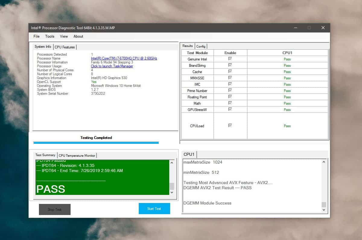 Intel® Processor Diagnostic Tool 1