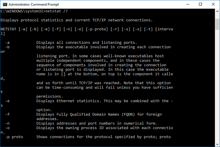 Netstat Help Screen