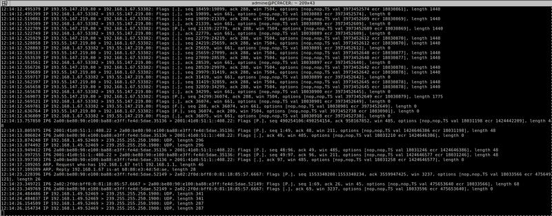 Tcpdump screenshot