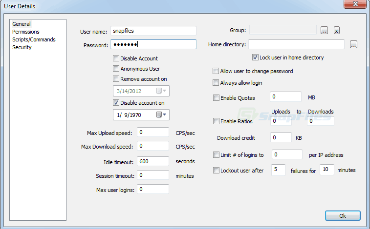 Core FTP Server User Details Screenshot