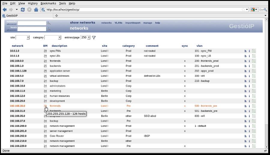 GestioIP Address Management Screenshot