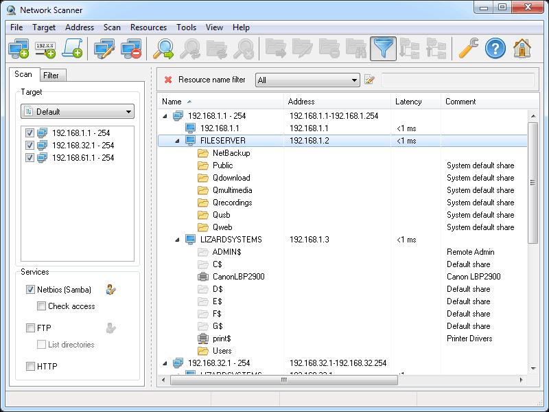 LizardSystems Network Scanner Screenshot