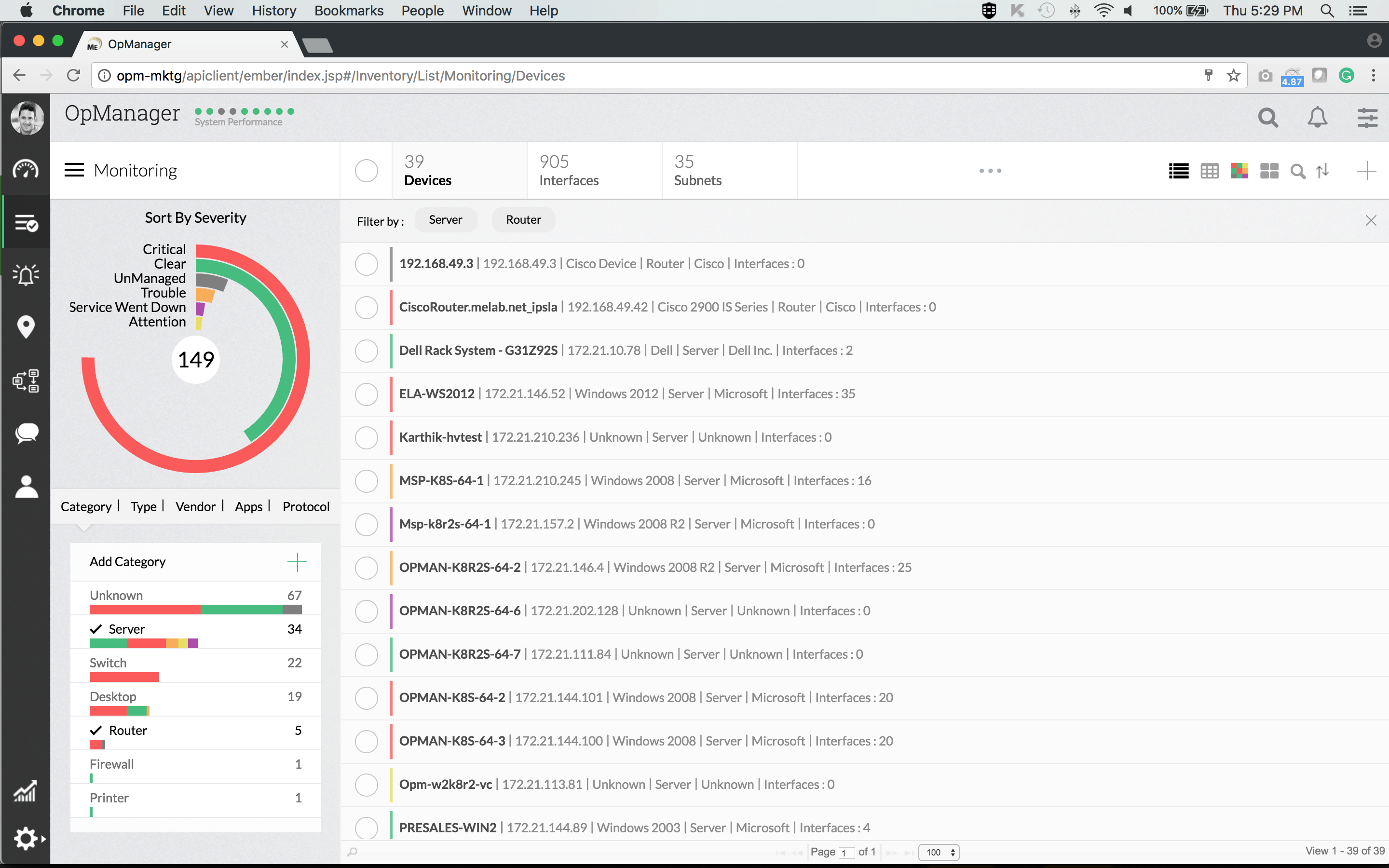 ManageEngine OpManager Monitoring