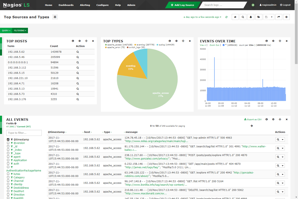 Nagios Log Server Real-Time Data