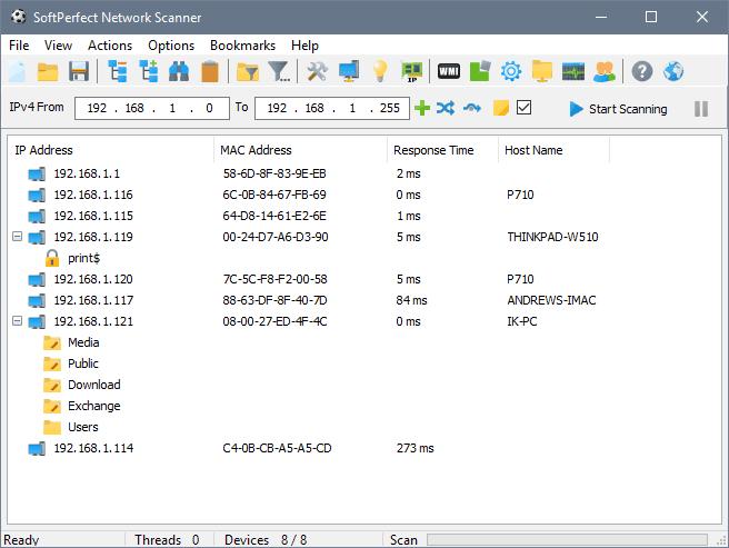 SoftPerfect Network Scanner Main Window