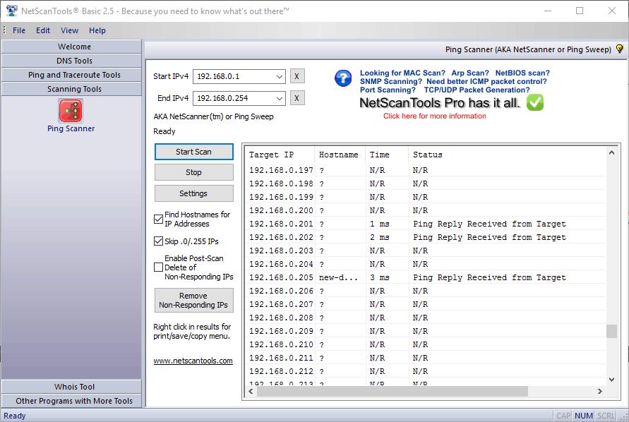 NetScan Tools Basic - Ping Scanner