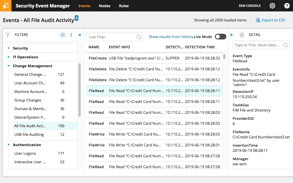 SolarWinds Security Event Manager Screenshot