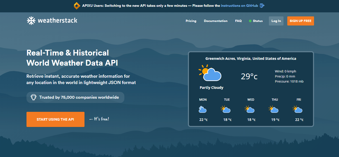 Weatherstack API Home Page