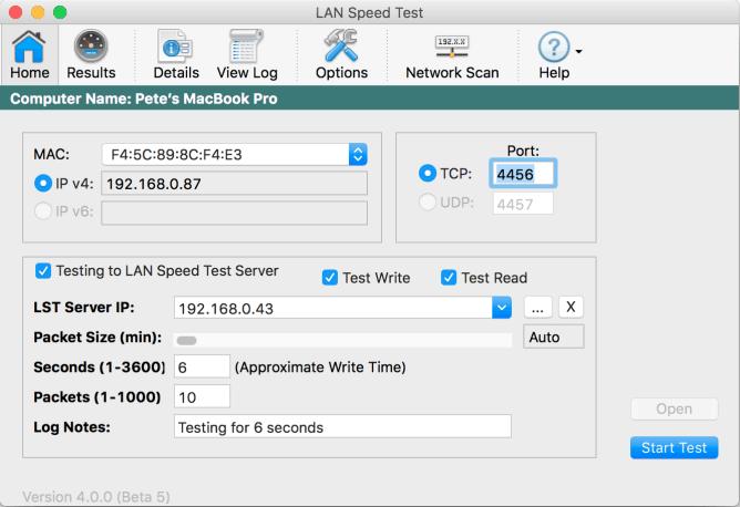LAN Speed Test Screenshot