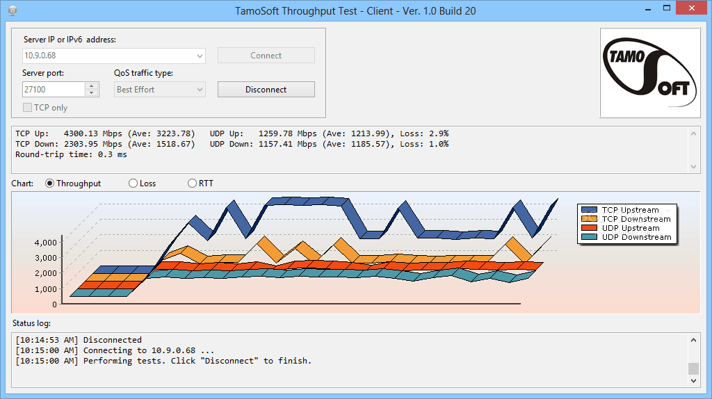 TamoSoft Throughput Test Screenshot