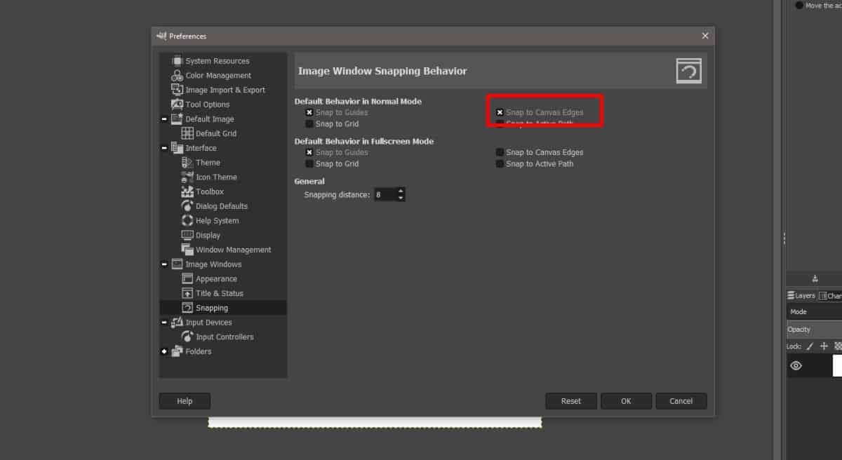 settings in GIMP 1