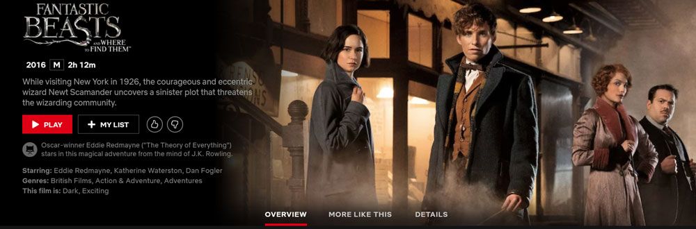 Is Fantastic Beasts and Where to Find Them on Netflix