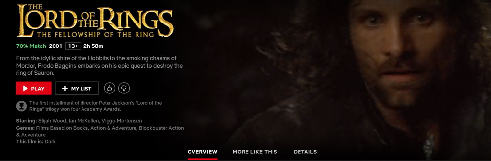 Is Lord of the Rings on Netflix