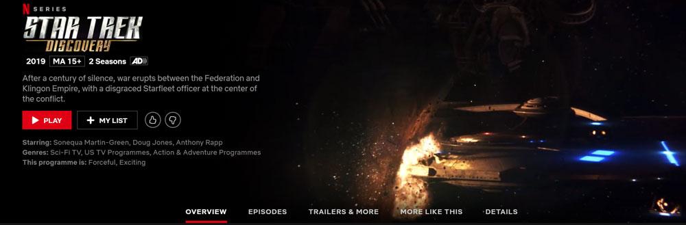 Is Star Trek: Discovery on Netflix