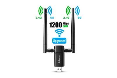 Wireless USB WiFi Adapter for PC - 802.11AC 1200Mbps Dual 5Dbi Antennas 5G/2.4G WiFi USB for PC Desktop