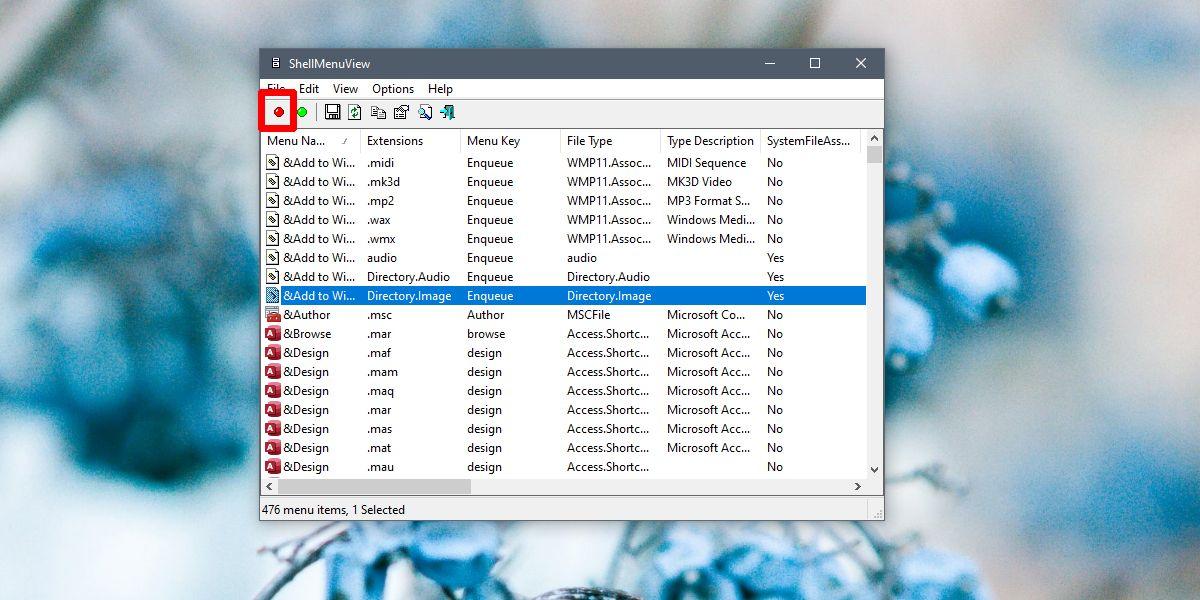 context menu edit