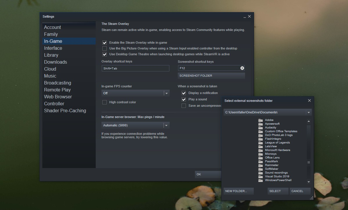 steam screenshots folder