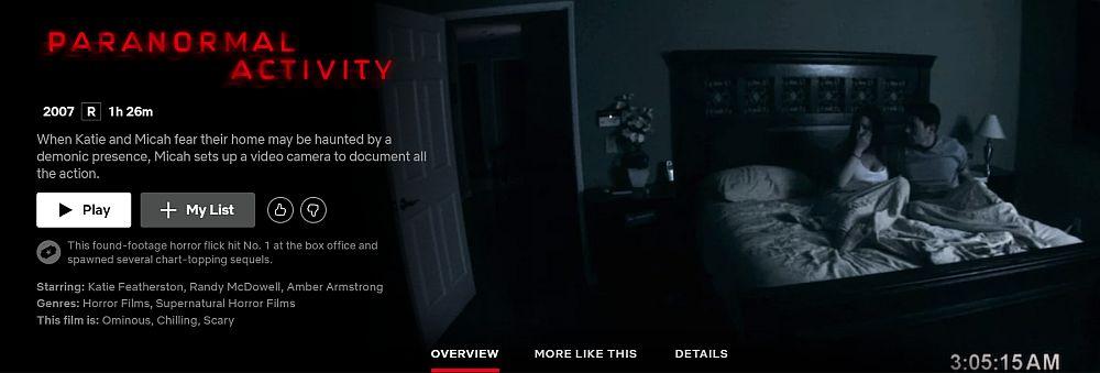 Can I watch Paranomal Activity on Netflix